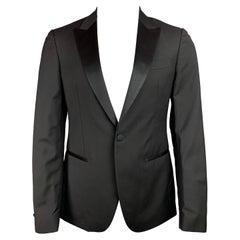 JOHN VARVATOS Size 38 Regular Black Wool / Mohair Peak Lapel Sport Coat