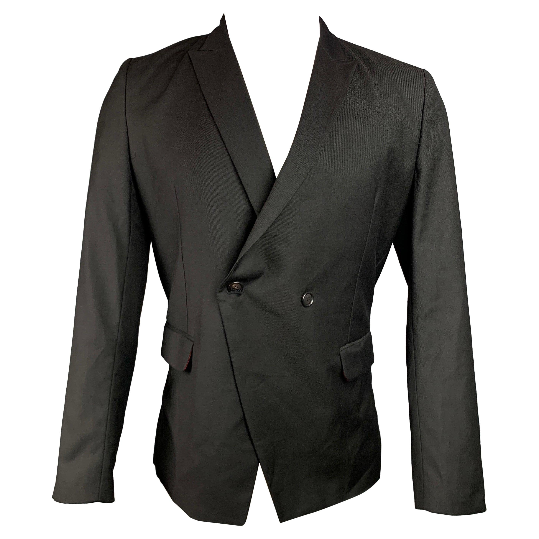 KRIS VAN ASSCHE Size 38 Black Wool Peak Lapel Sport Coat