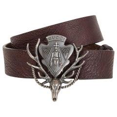 GUCCI dark brown leather ANTLER CREST Belt 85 / 34