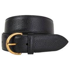 GUCCI black leather PECARI WIDE WAISTE Belt 75