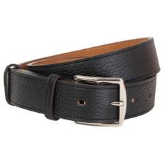 HERMES black leather ETRIVIER 32mm WAISTE Belt 75 Noir Clemence