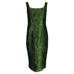 Escada Couture Moss Green Silk Brocade Sheath Dress