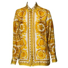 F/W 1991 Gianni Versace Couture Silk Baroque Style Gold Collared Shirt