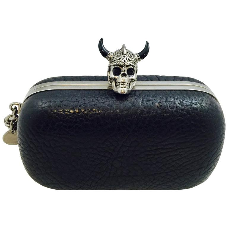 Alluring Alexander McQueen Leather Box Clutch With Horned Skull Lock
