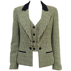 Chanel Spring 2002 Houndstooth Cotton Tweed Jacket With Incorporated Vest