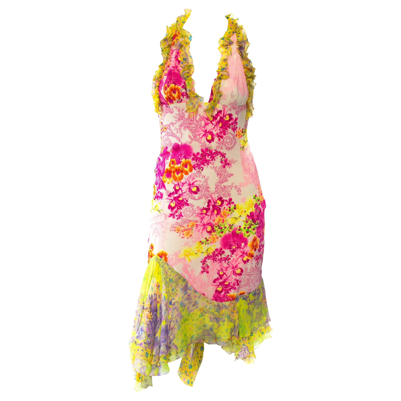 S/S 2004 Versace Neon Floral Chiffon Dress Vintage Runway