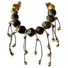 Vintage French Gilded Fringe Statement Necklace