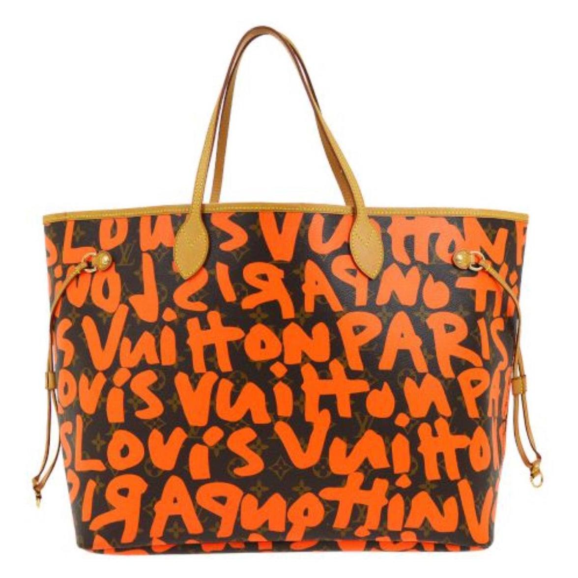 Louis Vuitton Neverfull GM Orange Graffiti Sprouse Carryall Travel Tote Bag