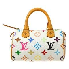 Louis Vuitton Murakami White Multi Rainbow Mini Speedy Top Handle Shoulder Bag