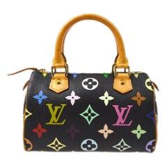 Louis Vuitton Murakami Black Multi Rainbow Mini Speedy Top Handle Satchel Bagg