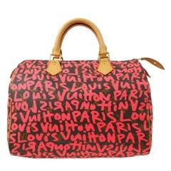 Louis Vuitton Speedy 30 Pink Brown Graffiti Sprouse Carryall Top HandleBag