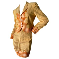 Moschino Cheap & Chic Vintage 1980's Linen Gingham Mini Skirt Suit