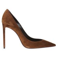 "Saint Laurent Brown Suede ""Zoe 105"" Pointed Toe Pump Size 39"
