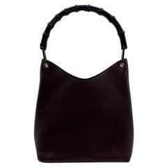 Gucci Vintage Brown Leather Hobo Bag Tote Bamboo Handle