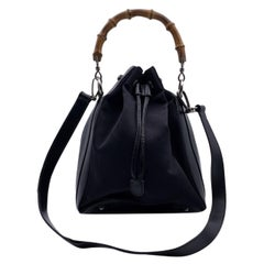 Gucci Vintage Black Canvas and Leather Bucket Bag Bamboo Handle