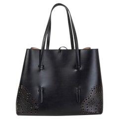 ALAIA black leather MINA 32 LASER CUT Tote Bag