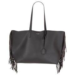 SAINT LAURENT dark grey leather COAL FRINGED SHOPPING Tote Bag