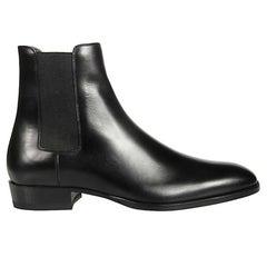 Saint Laurent Mens Black Smooth Leather Wyatt 30 Chelsea Boot Size 41.5
