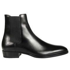 Saint Laurent Mens Black Smooth Leather Wyatt 30 Chelsea Boot Size 45