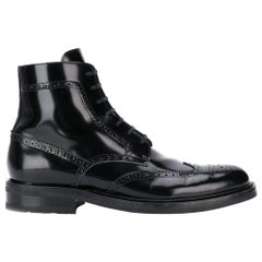 "Saint Laurent Mens ""Army 20"" Black Leather Lace Up Boot Size 46"