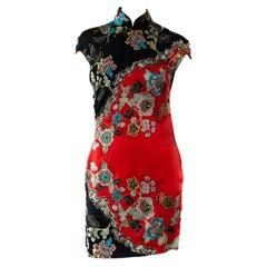 S/S 2003 Roberto Cavalli Chinoiserie Asian Print Mini Cheongsam Runway Dress