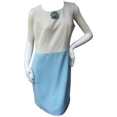 Pierre Cardin Mod White & Turquoise Sheath Dress c 1970