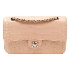 Chanel Cotton Candy Crocodile Medium Classic Flap