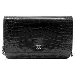 Chanel Black Crocodile Wallet on a Chain WOC