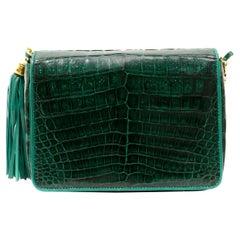 Chanel Emerald Green Crocodile Coco Flap Bag