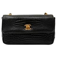Chanel Black Crocodile Mini Classic Flap Bag