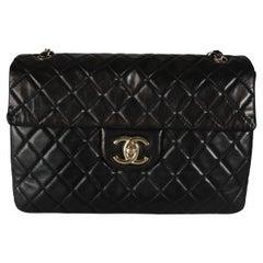 Chanel Black Quilted Lambskin XL Jumbo Single Flap Bag