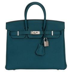 New Hermes Birkin 25 Verso Vert Bosphore Bag in Box