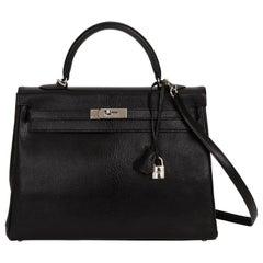 Hermes Kelly 35 Retourne Black Chevre PH Bag