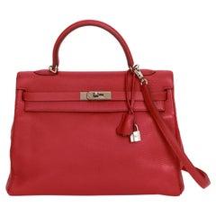 Hermes Kelly 35 Retourne Rouge Clemence Bag