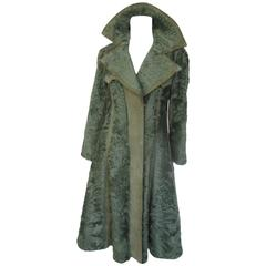 Olive green Swakara Persian lamb fur coat with matching suede details
