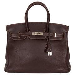 Hermes Birkin 35 Brown Fjord Palladium Bag