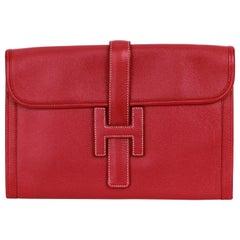 Hermes Red Vintage Epsom Leather Jige Clutch Bag