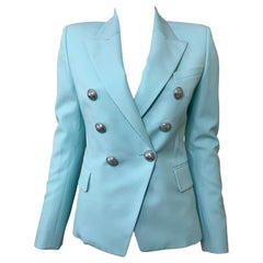 Balmain Double Breasted Blazer Baby Blue