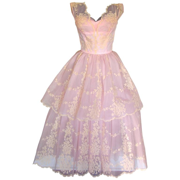 c1950s Baby Pink Taffeta + Tulle Party Dress with Tiered Skirt Size S For Sale