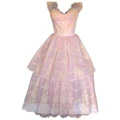 c1950s Baby Pink Taffeta + Tulle Party Dress with Tiered Skirt Size S