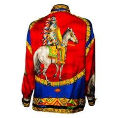 F/W 1992 Gianni Versace Silk Collared Shirt Atelier Native American Print
