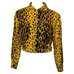 S/S 1992 Gianni Versace Leopard Printed Denim Jacket
