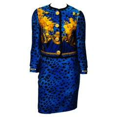 Gianni Versace Blue Baroque Leopard Print Skirt Suit with Gold Chain Cuffs 1992