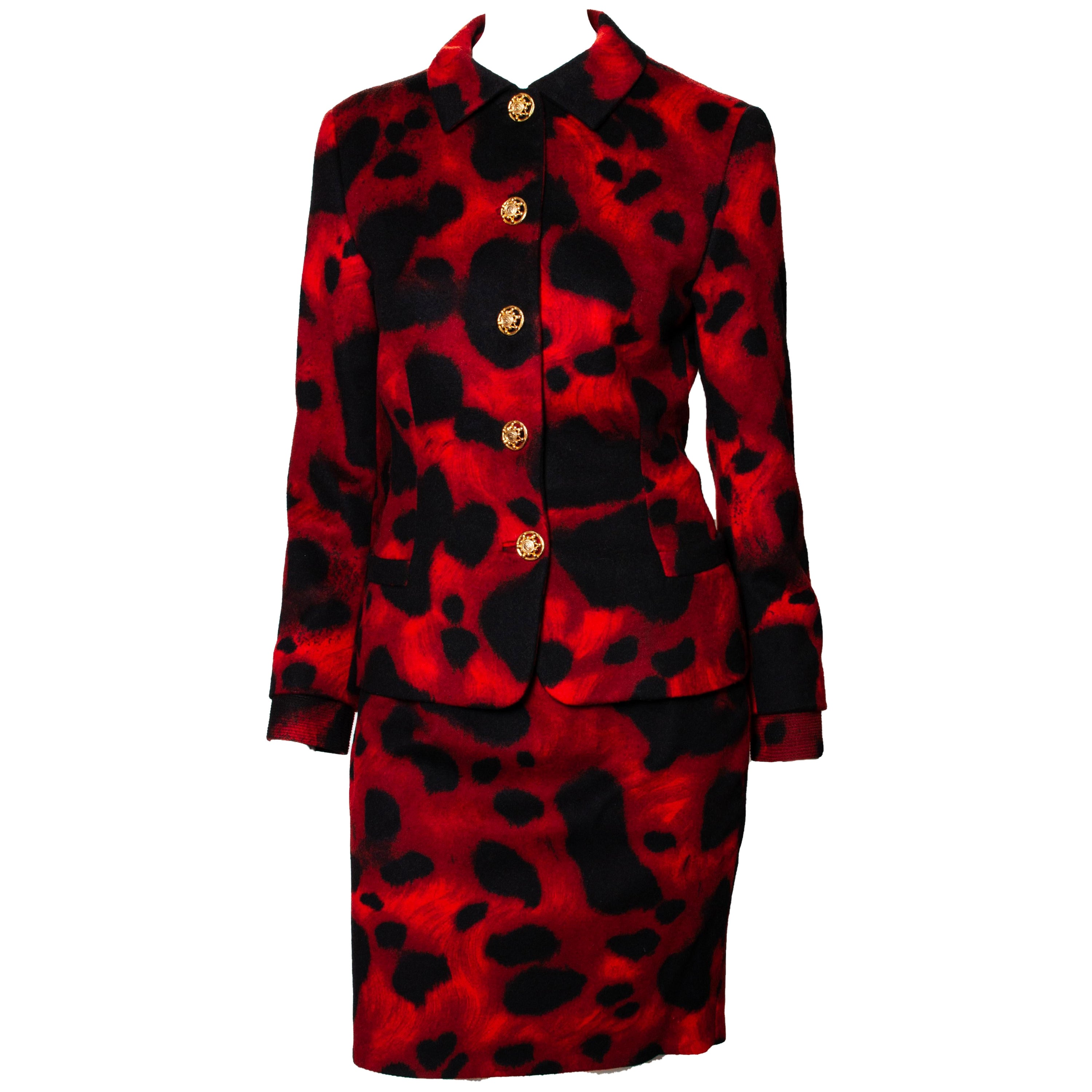 F/W 1992 Gianni Versace Red Leopard Print Skirt Suit