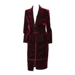 F/W 2002 Yves Saint Laurent by Tom Ford Red Velvet Skirt Suit