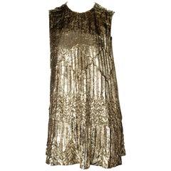 F/W 1994 Gianni Versace Gold Lame Lurex Tinsel Mini Tent Dress