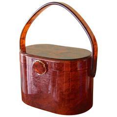 50s Wilardy Art Deco Handbag Top Handle Tortoise Purse with Decorative Lock