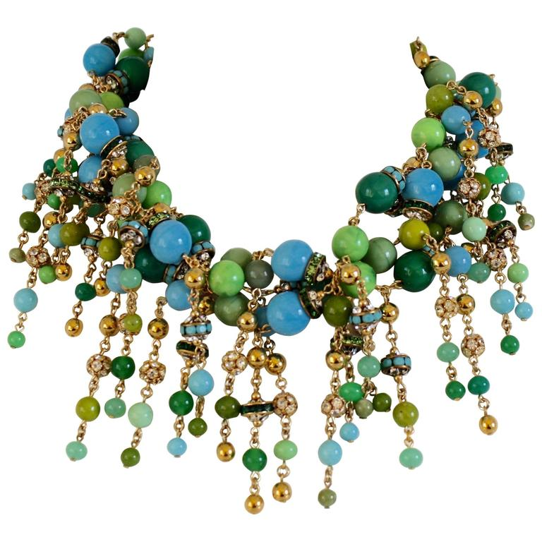 Francoise Montague Blue, Green, and Crystal Fringe Necklace For Sale