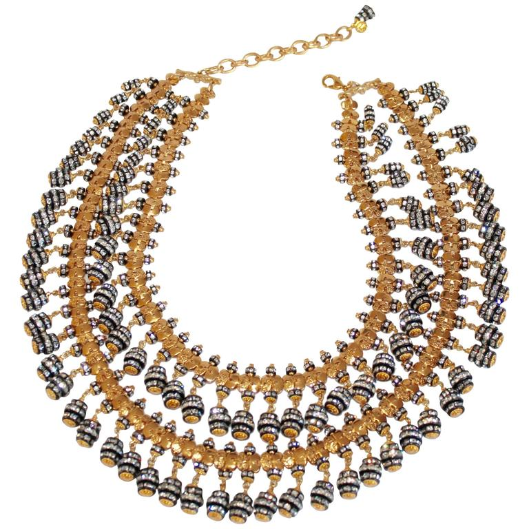 Francoise Montague Double Strand Crystal Rondelle Tassel Necklace 1