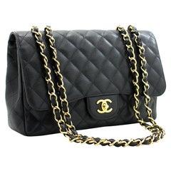 "CHANEL Jumbo Caviar 11"" Large Chain Shoulder Bag Flap Black"